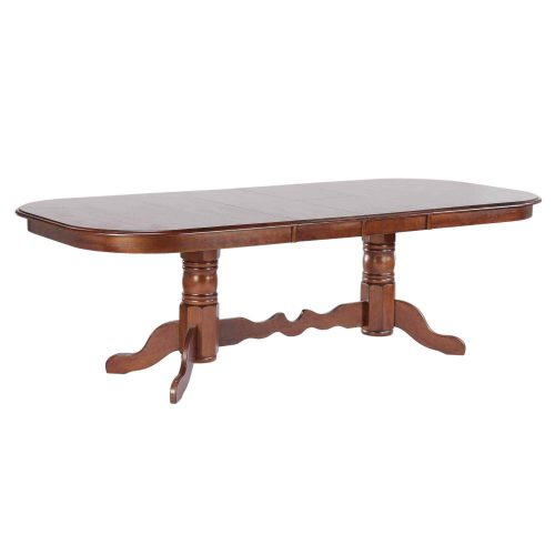 Andrews Dining - Double pedestal table with Butterfly leaves finished in distressed Chestnut - fully extended DLU-ADW4296-CT
