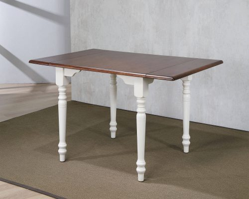 Andrews Dining - Drop leaf dining table finished in antique white with a chestnut top - leaves extended - dining room setting DLU-ADW3448-AW