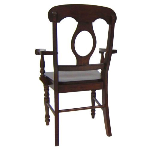Andrews Dining - Napoleon Arm Chair finished in Chestnut brown - angled back view DLU-ADW-C50A-CT-2