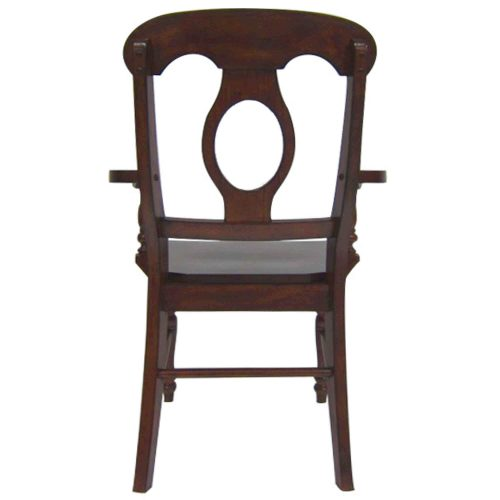 Andrews Dining - Napoleon Arm Chair finished in Chestnut brown - back view DLU-ADW-C50A-CT-2