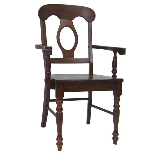 Andrews Dining - Napoleon Arm Chair finished in Chestnut brown - three-quarter view DLU-ADW-C50A-CT-2