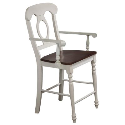 Andrews Dining - Napoleon barstool with arms - finished in antique white with a chestnut seat DLU-ADW-B50A-AW-2
