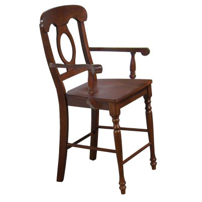 Andrews Dining - Napoleon barstool with arms - finished in distressed chestnut DLU-ADW-B50A-CT-2