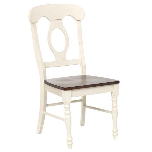 Andrews Dining - Napoleon dining chair finishedi n antique white with chestnut seat - front view DLU-ADW-C50-AW-2