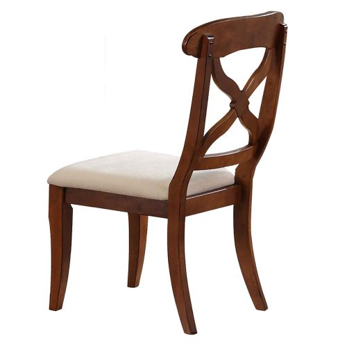 Andrews Dining - Upholstered dining chair finished in chestnut - back view DLU-ADW-C12-CT-2