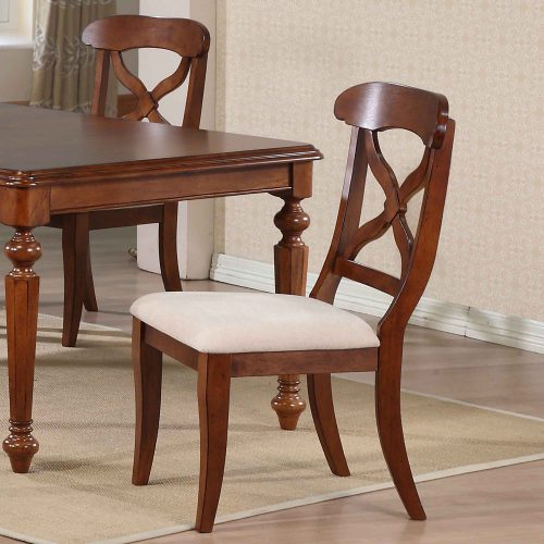Andrews Dining - Upholstered dining chair finished in chestnut - dining room setting DLU-ADW-C12-CT-2