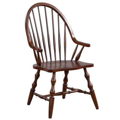 Andrews Dining - Windsor dining chair with arms - distressed chestnut finish - three-quarter view DLU-ADW-C30A-CT