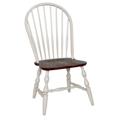Andrews Dining - Windsor spidleback dining chairs fininshed in antique white with a chestnut seat - front view DLU-C30-AW-2