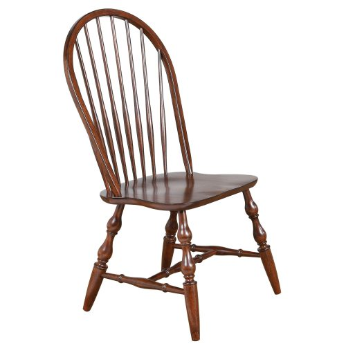 Andrews Dining - Windsor spidleback dining chairs fininshed in distressed chestnut - front view DLU-C30-CT-2