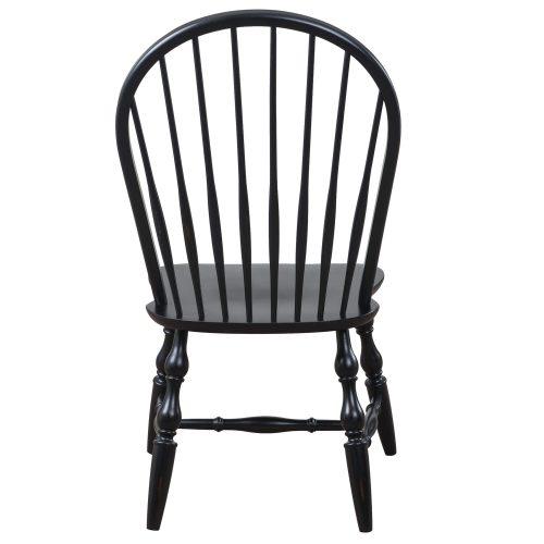 Black Cherry Selection - Windsor back dining chair - antique black finish - back view DLU-C30-AB-2