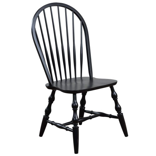 Black Cherry Selection - Windsor back dining chair - antique black finish - three-quarter view DLU-C30-AB-2