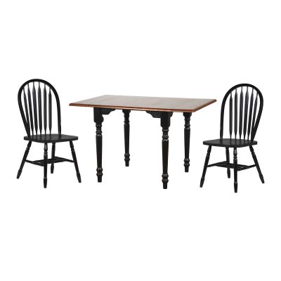 Black Cherry Selections 3-piece dining set - Drop leaf dining table with two Arrow-back chairs - finished in antique black with a cherry top DLU-TLD3448-820-AB3PC