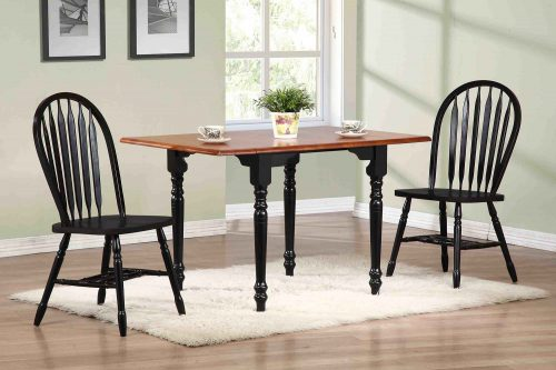Black Cherry Selections 3-piece dining set - Drop leaf dining table with two Arrow-back chairs - finished in antique black with a cherry top - dining room setting DLU-TLD3448-820-AB3PC