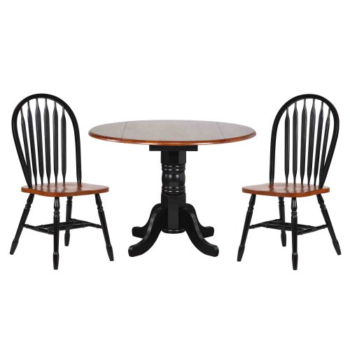 Black Cherry Selections - 3-piece dining set - Round drop leaf table with two Arrow-back chairs finished in antique black with cherry top and seats DLU-TPD4242-820-BCH3PC