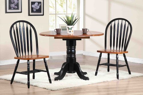 Black Cherry Selections - 3-piece dining set - Round drop leaf table with two Arrow-back chairs finished in antique black with cherry top and seats - dining room setting DLU-TPD4242-820-BCH3PC