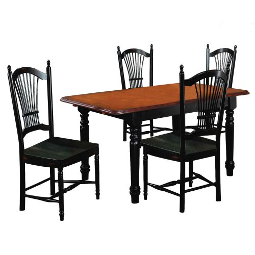 Black Cherry Selections - 5-piece dining set - Butterfly dining table with four Allenridge chairs - finished in antique black with cherry top DLU-TLB3660-C07-AB5PC