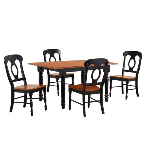 Black Cherry Selections - 5-piece dining set - Butterfly dining table with four Napoleon chairs - finished in antique black with cherry top DLU-TLB3660-C50-BCH5PC