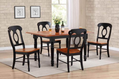 Black Cherry Selections - 5-piece dining set - Butterfly dining table with four Napoleon chairs - finished in antique black with cherry top dining room setting DLU-TLB3660-C50-BCH5PC