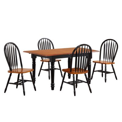 Black Cherry Selections - 5-piece dining set - Extendable dining table with four Arrow-back chairs - finished in antique black with cherry top and seats DLU-TLB3660-820-BCH5PC