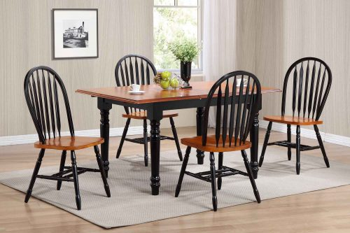 Black Cherry Selections - 5-piece dining set - Extendable dining table with four Arrow-back chairs - finished in antique black with cherry top and seats dining room setting DLU-TLB3660-820-BCH5PC