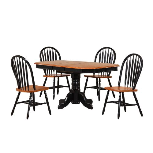 Black Cherry Selections - 5-piece dining set - Pedestal extendable dining table with four Arrow-back chairs finished in antique black with a Cherry top and seats DLU-TCP3660-820-BCH5PC