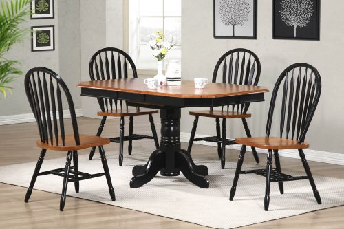 Black Cherry Selections - 5-piece dining set - Pedestal extendable dining table with four Arrow-back chairs finished in antique black with a Cherry top and seats room setting DLU-TCP3660-820-BCH5PC