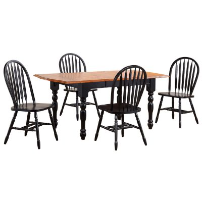 Black Cherry Selections - 5-piece dining set - extendable dining table with four Arrow-back chairs - fininshed in antique black with cherry accents DLU-TDX3472-820-AB5PC