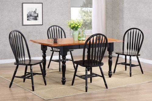 Black Cherry Selections - 5-piece dining set - extendable dining table with four Arrow-back chairs - fininshed in antique black with cherry accents - dining room setting DLU-TDX3472-820-AB5PC
