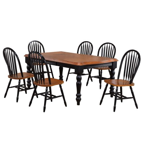 Black Cherry Selections - 7-piece dining set - extendable dining table with six comfort back chairs finished in antique black with a Cherry top and seats DLU-SLT4272-820-BCH7PC
