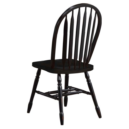 Black Cherry Selections - Arrow-back dining chair - finished in antique black - back view - DLU-820-AB-2