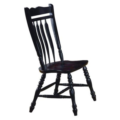 Black Cherry Selections - Aspen dining chair - 42 inches tall - finished in antique black - three-quarter view DLU-C10-AB-2