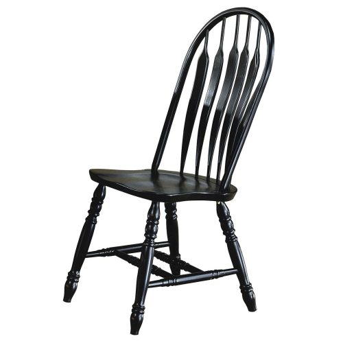 Black Cherry Selections - Comfort back dining chair - finished in antique black - angled front view - DLU-4130-AB-2