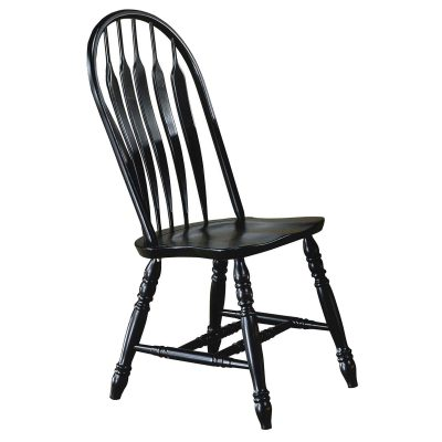 Black Cherry Selections - Comfort back dining chair - finished in antique black - front view - DLU-4130-AB-2