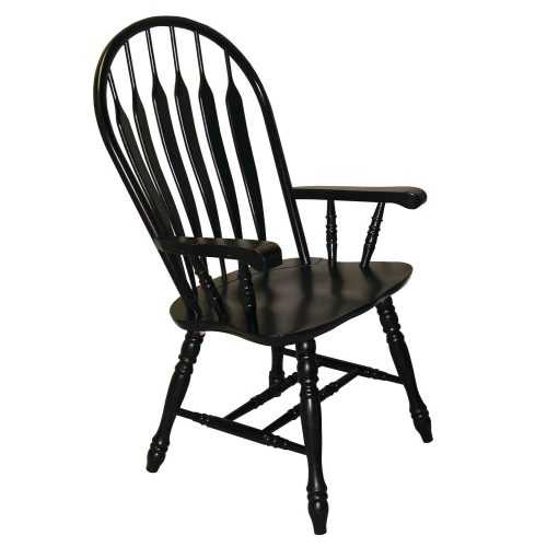 Black Cherry Selections - Comfort dining armchair finished in antique black - angled view DLU-4130-AB-A