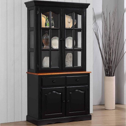 Black Cherry Selections - Keepsake Buffet and lighted hutch in Antique black with Cherry accents angled view in dining room DLU-19-BH-BCH