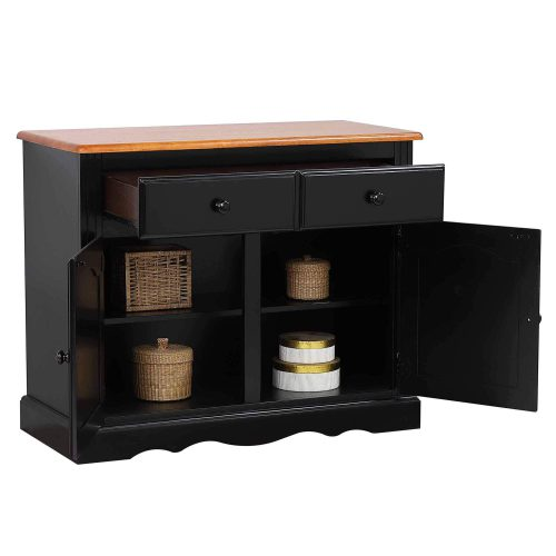 Black Cherry Selections - Keepsake Buffet and lighted hutch in Antique black with Cherry accents buffet with door and drawers open DLU-19-BH-BCH