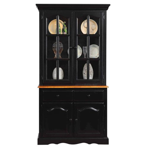 Black Cherry Selections - Keepsake Buffet and lighted hutch in Antique black with Cherry accents front view DLU-19-BH-BCH
