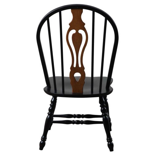 Black Cherry Selections - Keyhole back dining chair - 41 inches - finished in antique black with cherry accents - back view DLU-124-S-AB-2