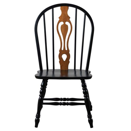 Black Cherry Selections - Keyhole back dining chair - 41 inches - finished in antique black with cherry accents - front view DLU-124-S-AB-2