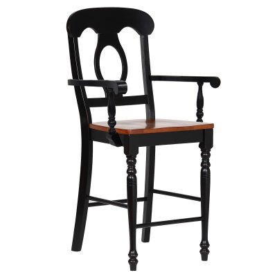 Black Cherry Selections - Napoleon barstool with arms finished in antique black with a cherry seat DLU-B50A-BCH-2-1