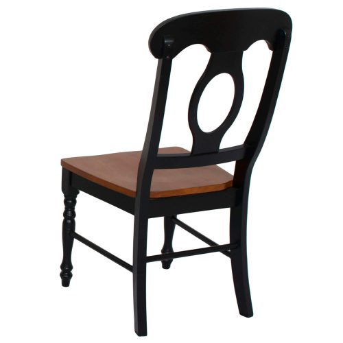 Black Cherry Selections - Napoleon dining chair finished in antique black with a cherry seat - back view DLU-C50-BCH-2