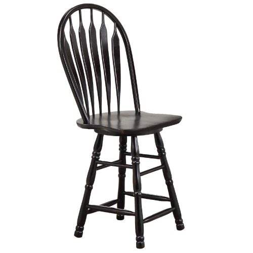 Black Cherry Selections - Swivel barstool - 24 inches - finished in antique black - three-quarter view DLU-B24-AB