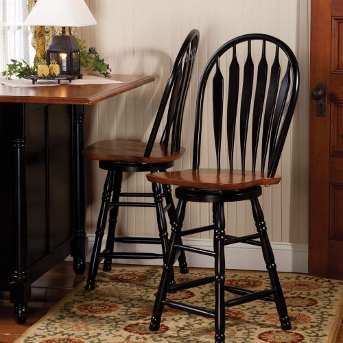 Black Cherry Selections - Swivel barstool - 24 inches - finished in antique black with a cherry seat - dining room setting DLU-B24-BCH