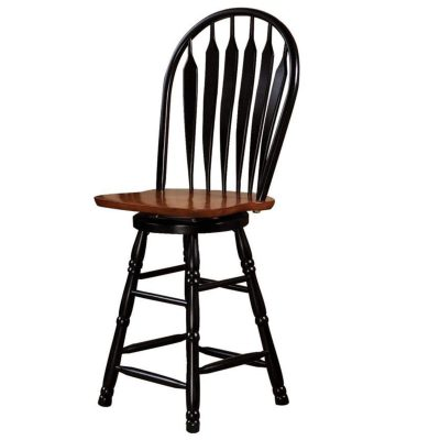 Black Cherry Selections - Swivel barstool - 24 inches - finished in antique black with a cherry seat - three-quarter view DLU-B24-BCH