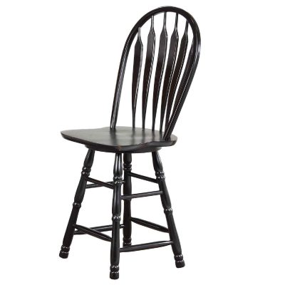 Black Cherry Selections - Swivel barstool - 30 inches high - finished in antique black - angled view DLU-B30-AB