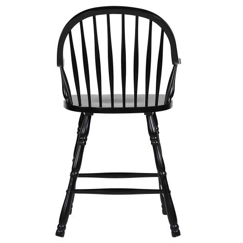 Black Cherry Selections - Windsor counter height stool with arms - finished in antique black - back view DLU-B3024A-AB-2