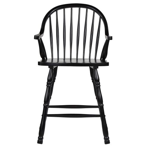 Black Cherry Selections - Windsor counter height stool with arms - finished in antique black - front view DLU-B3024A-AB-2