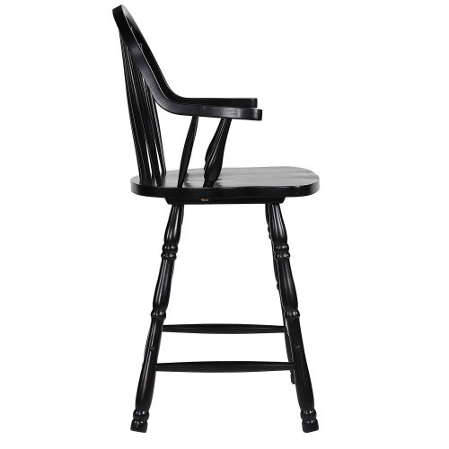 Black Cherry Selections - Windsor counter height stool with arms - finished in antique black - right side view DLU-B3024A-AB-2