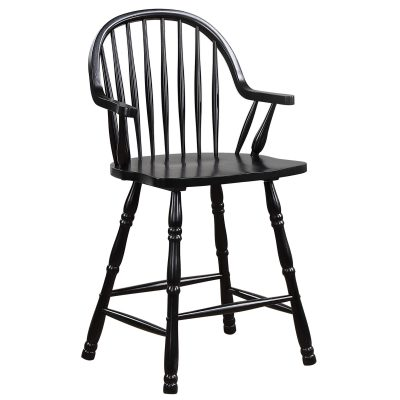 Black Cherry Selections - Windsor counter height stool with arms - finished in antique black - three-quarter view DLU-B3024A-AB-2