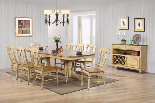 Brook Dining 10-piece dining set - Extendable pedestal table with eight Napoleon chairs and server - finished in creamy wheat with Pecan tops - seats and accents dining room setting DLU-BR4296-C50-SRPW10P
